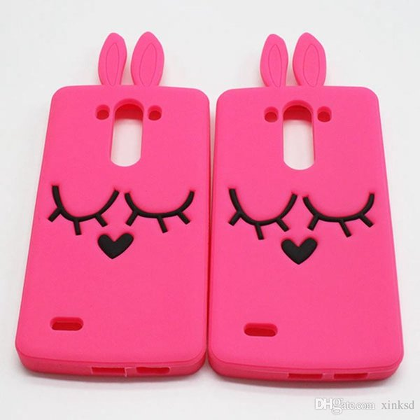 For LG G2 G3 G4 G5 G Stylo G4 Stylus Sony Xperia Z1 Z2 Z3 Z5 M5 Case 3D Cartoon Smile Bunny Rabbit Silicone Rubber Cases Covers Phone Case