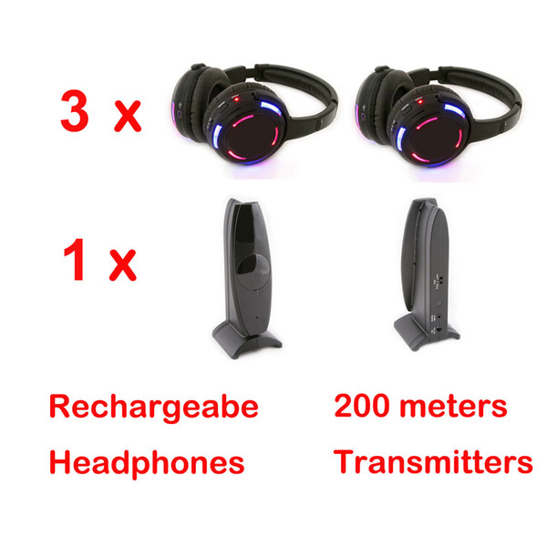 Quiet Clubbing silent disco headphones 3pcs with Transmitter 1pcs - RF Wireless For iPod MP3 DJ Music