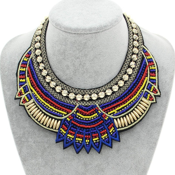 top popular Fashion Hand Made Ethnic Choker Necklace Bib Collares Multicolor Beads Boho Statement Jewelry Women Accessories 2017 2020