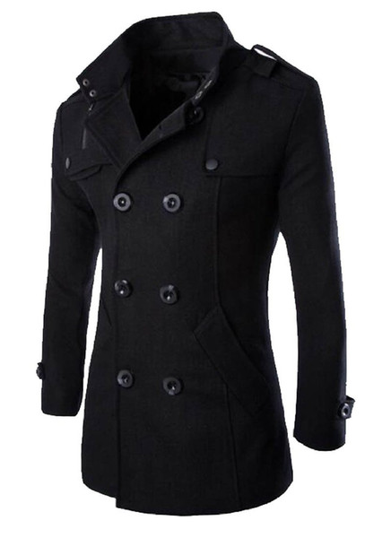 top popular Wholesale- MLG Mens Classic Double Breasted Mid Long Trench Pea Coat 2021