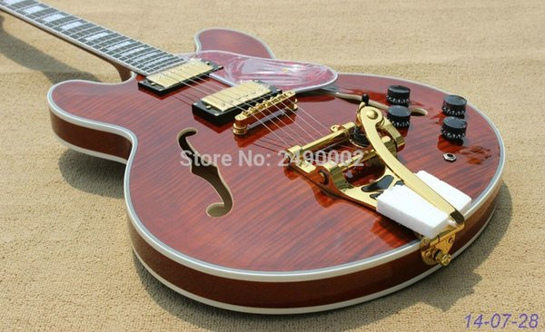 Custom 335 Flame Maple Top Trans Brown Semi Hollow Jazz Electric Guitar Red Tortoise Pickguard Ebony Fingerboard Fret Nibs Bigs Tailpiece