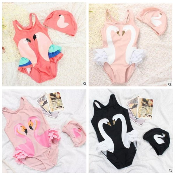 best selling Girl Swimwear INS Swimsuits Swan Parrot Bathing Suits Flamingo Printed Bikini Swimming Caps Kids Cartoon Swimwear Baby Clothing Sets J498