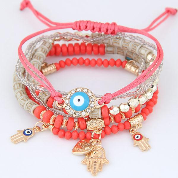 LEMOER 2017 Kabbalah Fatima Hamsa Hand Blue Evil Eye Heart Charm Bracelets & Bangles Multilayer Beads Turkish Pulseras For Women