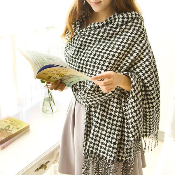 Foulard classique en forme de pluvier pour hommes et femmes Echarpe en laine avec glands en tartan écharpe en cachemire blanc