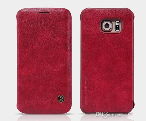Original Nillkin Qin luxury PU leather flip wallet phone case cover for samsung galaxy S6/S6 Edge/S6 plus/S7/S7 edge fu