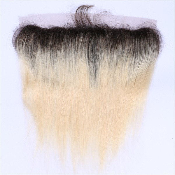 Free / Middle / 3 Way Parte Brasileño recto Ombre Lace Frontal Closure 13x4 Nudos blanqueados Two Tone # 1B / 613 Blonde Ombre Full Lace Frontals