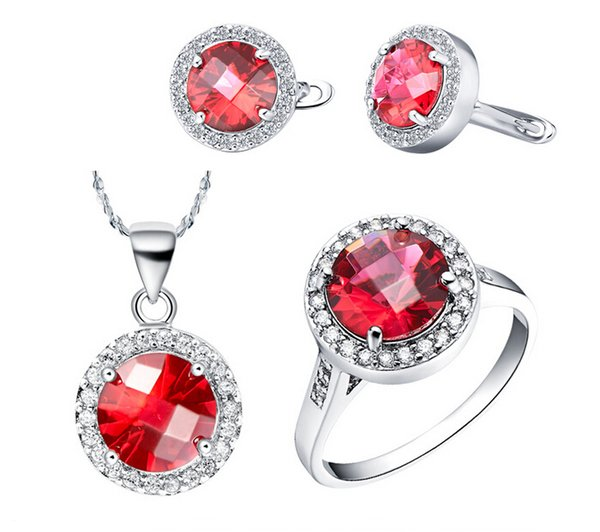 2017 women's fashion Jewelry Set S925 Silver Plated Red Crystal CZ Stones Pendent Necklace Earrings Ring set Charm accessories 1 set