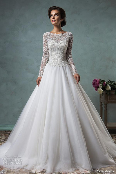 long sleeve vintage wedding dresses 2017 amelia Sposa 3D lace high design boat neckline embroideried bodice ball gown bridal dresses