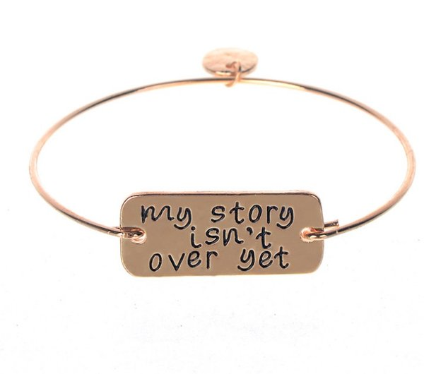 Fashion New Charm Lettering Bracelet my story isn't over yet Charm Bracelets for Women Gold Silver Alloy Bnagles Fashion Jewelry