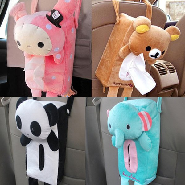 Wholesale- Napkin Papers Box Soft Plush Hanging Tissue Box Cover Office Car Accessories Home Decor Lovely Animal YL882058