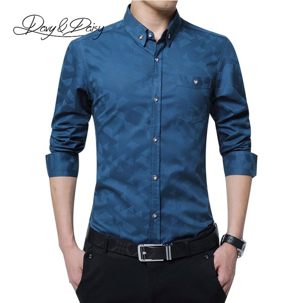 Wholesale- DAVYDAISY High Quality 2017 Full Sleeve Dress Shirt Men Social Work Brand Printed Male Clothes Business Formal Shirts 5XL DS-1