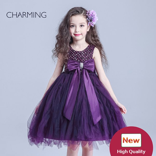 purple flower girl dress Flower girl dress beaded girl dresses for party high quality crafts shop online from china buy wholesale items