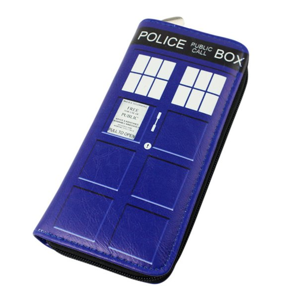 Wholesale- Doctor Who Wallet Dr Who PU Purse Toys Zipper Long Wallets Purses Tardis Cosplay Money bag gift Men Wallet Free Shipping