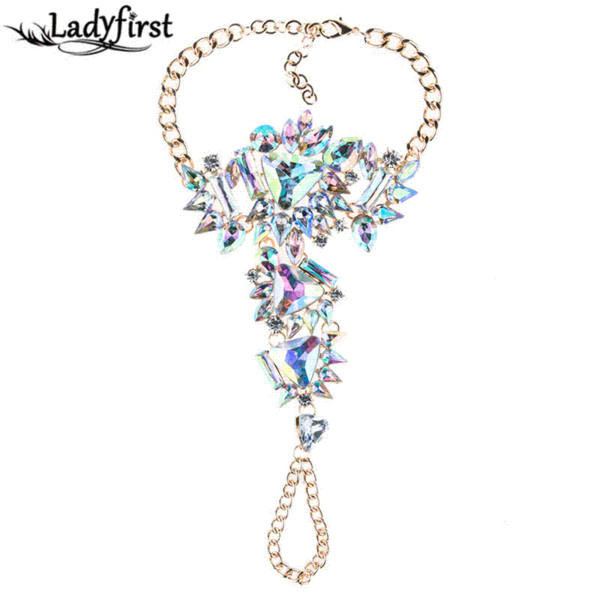 Ladyfirst Sexy Summer Statement Jewelry Hot Sale Bohemian Crystal Anklets Bracelets Leg Chain For Women Cheap Wholesale 4453