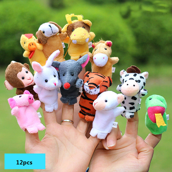 top popular 12Pcs Lot Cartoon Animal Velvet Finger Puppet Finger Toy Finger Doll Baby Plush Educational Hand Toy Children Hand Puppets 2021