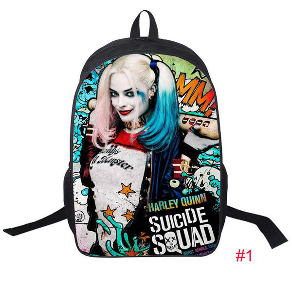 "Hot Harley Quinn Fashion Men/'s Backpack Kids Shoulder School Bag Schoolbag 17/"" H"