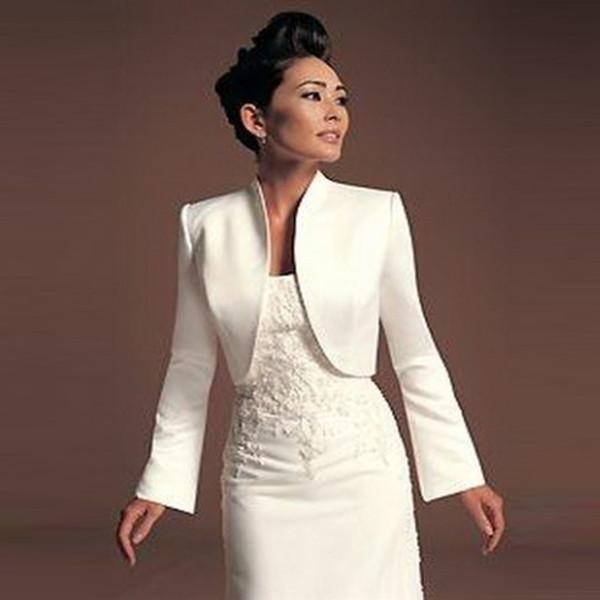 top popular Hot Selling Long Sleeve Formal Ivory Wholesale Wedding Bolero Satin Material Jacket Good Quality Professional Design 2021