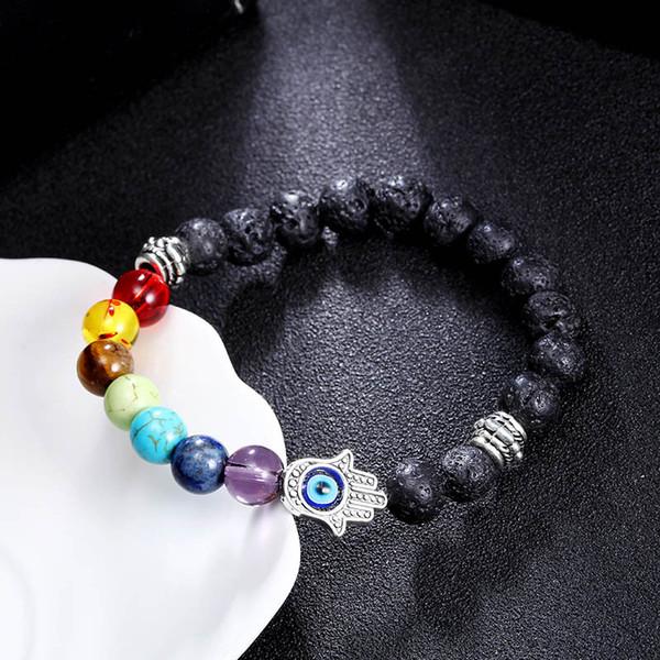 8mm 7 Chakras de la piedra preciosa pulsera de Hamsa meditación mal de ojo joyería Yoga Stretch aromaterapia Pulsera De Hombres y mujeres pulsera B361S