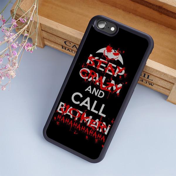 Coque Noire Keep Call Calm Call Etuis pour téléphone portable Batman Joker Pour iPhone 6 6S Plus 7 7 Plus 5 5S 5C SE 4S Couverture arrière