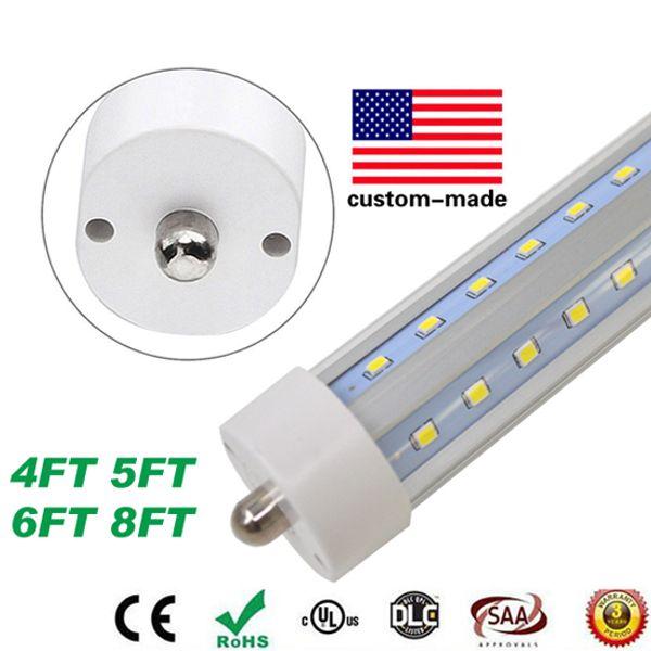 V-Shaped 4ft 5ft 6ft 8ft Cooler Door Led Lights Tubes R17D FA8 T8 Tubes Double Sides SMD2835 Led Fluorescent Lights AC 85-265V UL