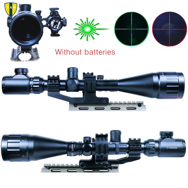 wholesale High quality 6-24x50 Hunting Rifle Scope Mil-dot Illuminated Snipe Scope & Green Laser Sight Airsoft Hunting Rifle Scope