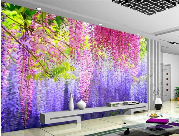 Acquista Moda Arredamento Casa Decorazione Camera Da Letto Bellissimo  Acquerello Glicine Fiore Foglie Sfondo Muro A $16.39 Dal Wallpaper20151688  | ...