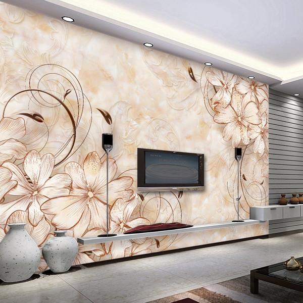 Elegant Wall mural Flowers pattern Photo wallpaper Custom 3D wallpaper Bedroom Office Hotel Modern Room Decor Interior design Brown Marble