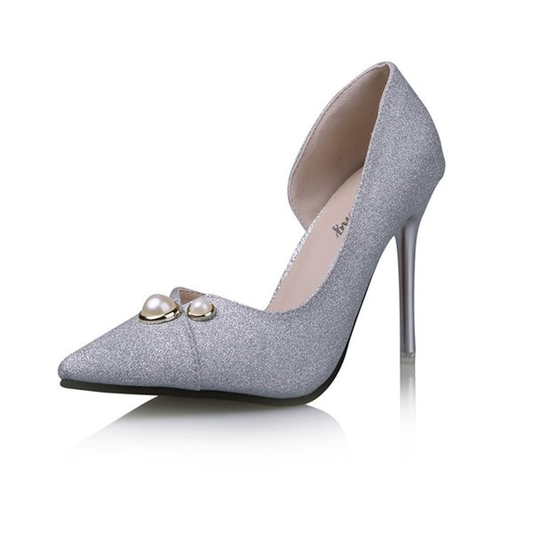 Beauty Luxury Lady Peal Decoration Plus Size Wedding Low Heels Shoes 3-5cm For Bride Wedding Shoes Golden Color In Dress Shoes