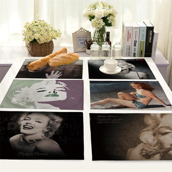 Menschen in Europa und den Vereinigten Staaten Monroe Foto Avatar Baumwoll- und Leinentuchkunst im westlichen Stil Speisetisch MATS Tischset