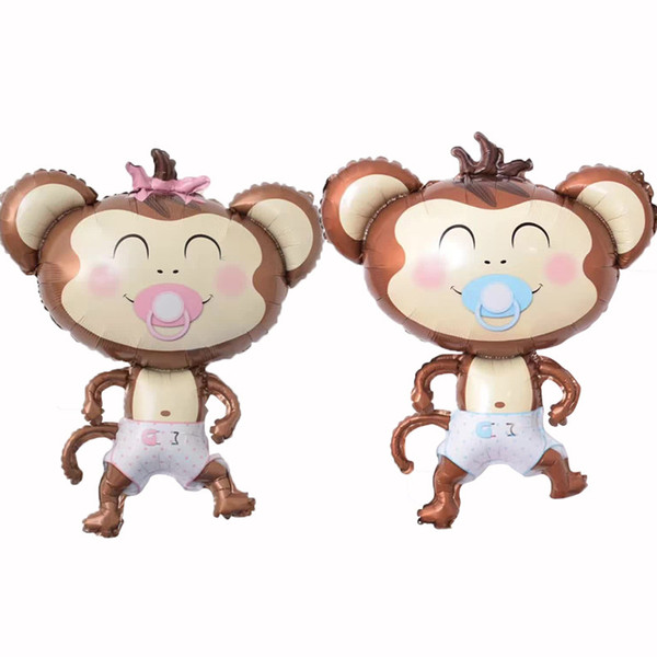 50pcs/lot Nipple Monkey Foil Balloons Inflatable Toys Globos Birthday Party Decorations Kids Helium Balloon Baby Shower Party Supplies