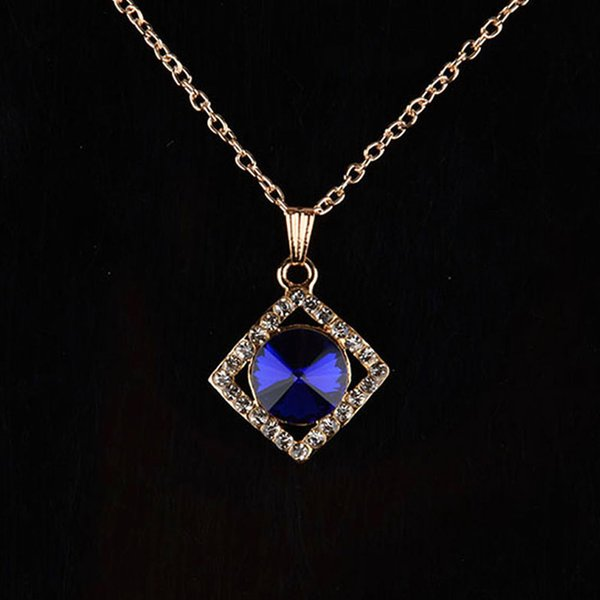 Fashion Dark Blue Crystal Necklace Party Jewelry Gold Plated Chain collier Square Pendants & Necklaces For Women