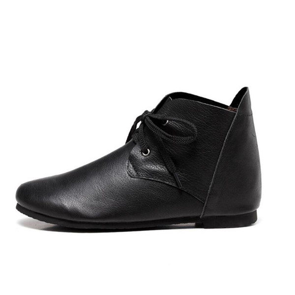 Ayakkabı Kadın Çizmeler Düz Hakiki Deri Kadınlar için Dantel up Ayak Bileği Çizmeler Bayanlar İlkbahar / Sonbahar Ayakkabı Çizmeler Kadın ayakkab ...