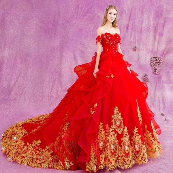 Long 2017 Gothic Red Ball Gown Princess Wedding Dresses Gold Lace ...