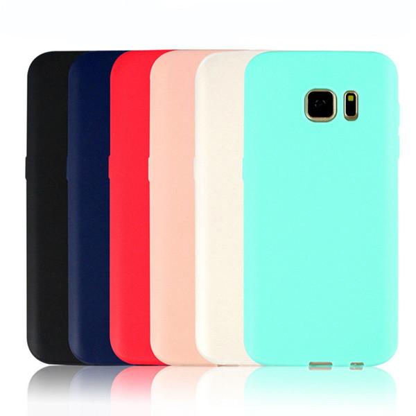Doce Cor TPU Caso Capa Sólida Silicone Soft Phone Tampa Traseira Design Slim para Samsung Galaxy S8