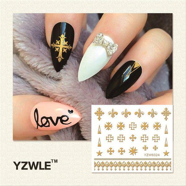 Wholesale Yzwle 1 Sheet Hot Gold 3d Nail Art Stickers Diy Nail ...