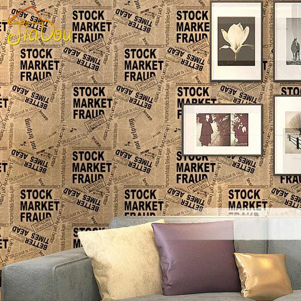 Wholesale Vintage Fashion English Letters 3D Vinyl Wallpaper Bar Cafe Clothing Store Newspaper Mural PVC