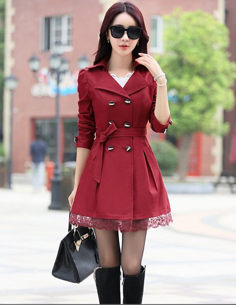 4cfca836d37 Women Spring Trench Coat 2017 Plus Size Lace Thin Double-breasted Coat  Women Autumn Winter Outerwear Clothing Abrigos Mujer Feminino