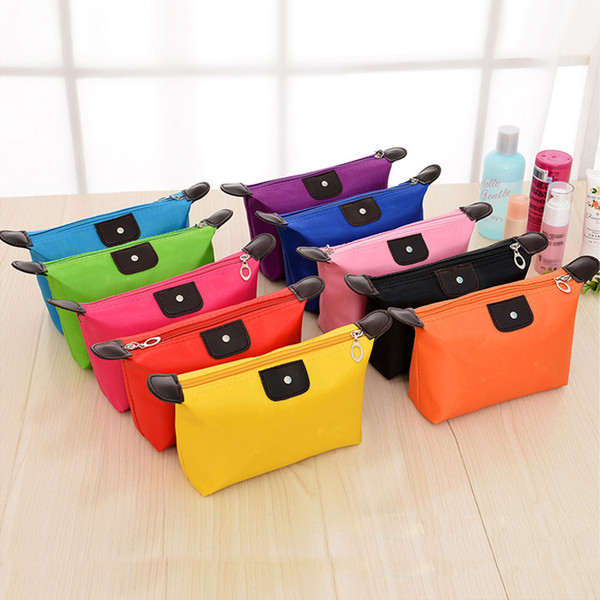 Cosmetic Bags For Women MakeUp Pouch Solid Make Up Bag 9 Colors Clutch Hanging Toiletries Travel Kit Jewelry Organizer Casual Purse