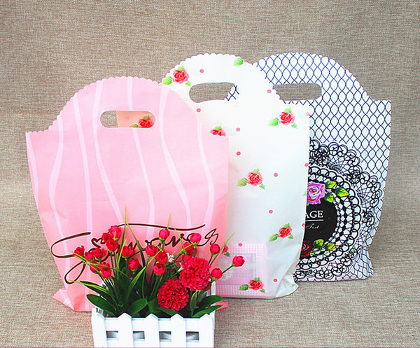 100pcs 20*26cm Small FlowerPlastic Bags , Shopping Jewelry Packaging Plastic Wedding Gift Bags floral Bag 3 colors for choose
