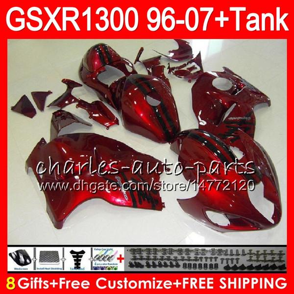8Geschenke 23 Farben Für SUZUKI Hayabusa GSXR1300 96 07 1996 1997 1998 15NO113 GSXR 1300 schwarz glänzend GSXR-1300 GSX R1300 1999 2000 2001 Verkleidung