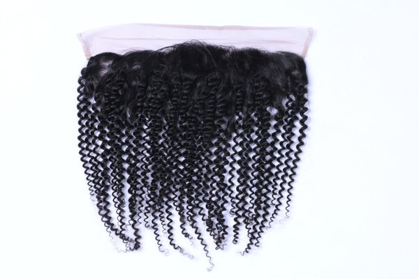"""Best Selling Brazilian Hair13*2 Lace Frontal Closure Bleached Knots 8-20"""" kinky curly Full Lace Frontal Closure no tangle no shedding"""