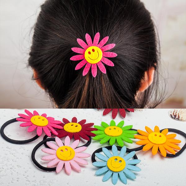 Wholesale Girls Cute Sunflower Hairpin Hair Rubber Bands Hair Rope Ring Women Headdress Circle Hair Accessories 7 colors