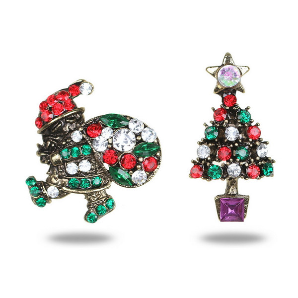 Colorful Crystal Christmas Tree Brooch Pin Set Vintage Gold Cloth Scarf Pin Badge Women Christmas Brooch Gifts