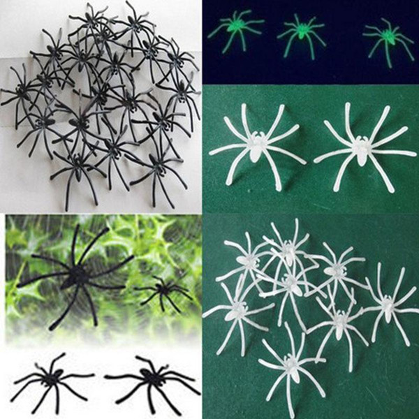 Halloween Decoration Plastic Black Luminous Simulation Spider Joking Birthday Gift Toy DIY Decor Accessories Bar Party Supplies 4.5*5cm