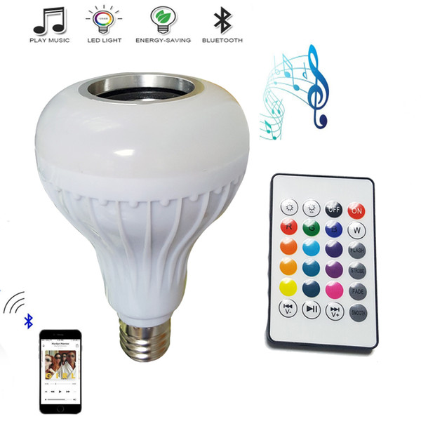 bon marché 2pcs E27 ampoule de musique intelligente LED RGB sans fil Bluetooth haut-parleur ampoule 12W puissance jouant de la musique lampe + contrôleur à distance