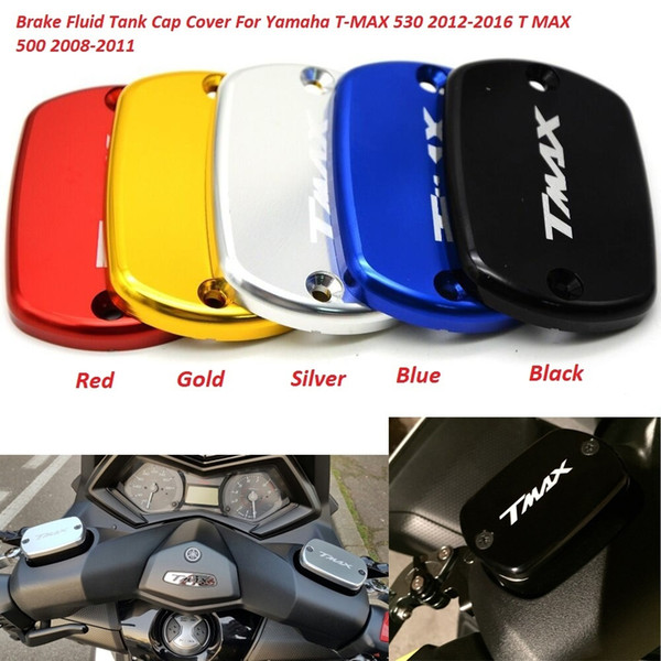 2pcs/set CNC Aluminum Motorcycle Brake Fluid Fuel Reservoir Tank Cap Cover For YAMAHA TMAX 500 TMax 530