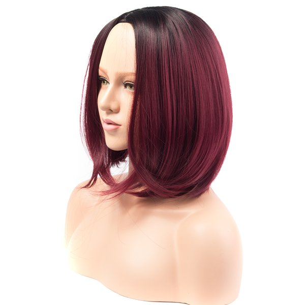 Free Shipping Synthetic Wigs Straight Short Burgundy Bob Ombre Red Wigs for Black Women African American Hair
