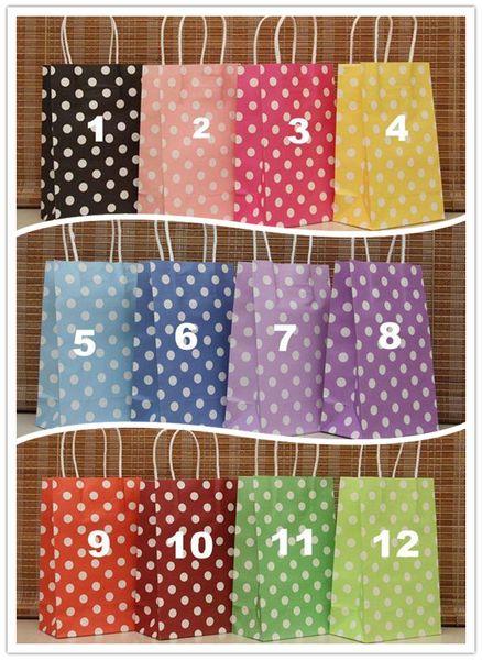 best selling Brand New 12 Color(21X13X8cm)Polka dot kraft paper bag Fashionable gift paper bag, Festival gift package