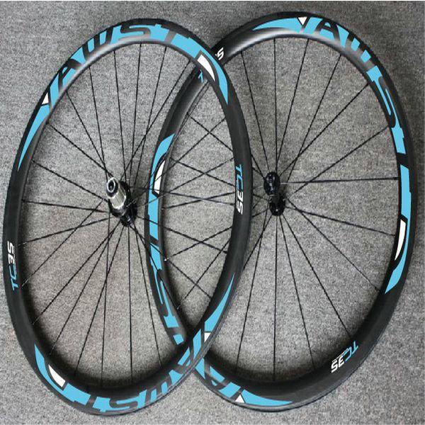 WAST blue decal full carbon bike wheels V brake taiwan carbon wheels 38mm tubular wheels OEM logo carbon frame free shipping
