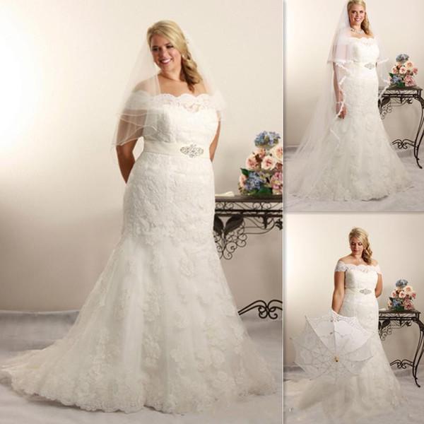 2017 Lace Plus Size Mermaid Wedding Dresses Off The Shoulder Bridal ...
